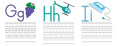 Writing practice of letters G,H,I. Education for children. Vector illustration stock illustration