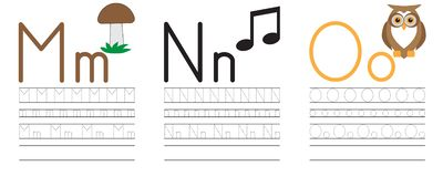 Writing practice of letters M,N,O. Education for children. Vector illustration vector illustration