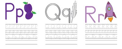 Writing practice of letters P,Q,R. Education for children. Vector illustration royalty free illustration