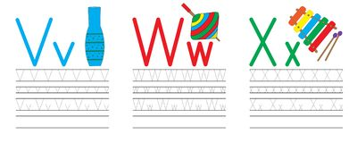 Writing practice of letters V,W,X. Education for children. Vector illustration vector illustration