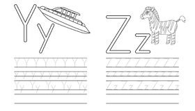 Writing practice of letters Y,Z. Coloring book. Education. For children. Vector illustration royalty free illustration
