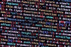 Writing programming code on laptop. Digital binary data on computer screen. Project managers work new idea. Software engineer at work. Software abstract royalty free stock images