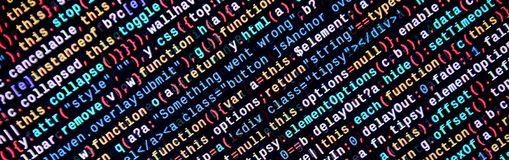 Writing programming code on laptop. Digital binary data on computer screen. Project managers work new idea. Software engineer at work. Software abstract royalty free stock photos