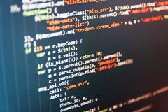 Writing programming code on laptop. Software abstract background. Big data database app. PHP syntax highlighted. Software development royalty free stock image
