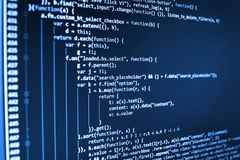 Writing programming functions on laptop. Stock Photography