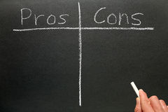 Writing the pros and cons. Stock Photography