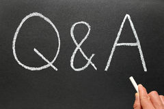 Writing Q&A, Questions and Answers. Writing Q&A, Questions and Answers on a blackboard Royalty Free Stock Images