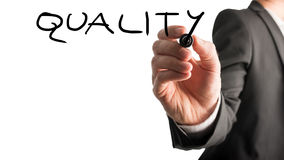 Writing Quality on virtual whiteboard Royalty Free Stock Photo