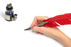 Writing With Quill Stock Image