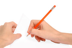 Writing red pencil [clipping path] Royalty Free Stock Photo