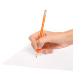 Writing red pencil [clipping path] Royalty Free Stock Photos