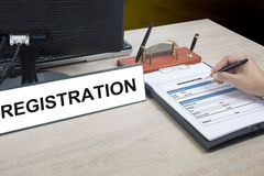 Writing into registration form. Royalty Free Stock Image
