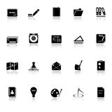 Writing related icons with reflect on white background Royalty Free Stock Photos