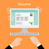 Writing a resume on computer stock illustration