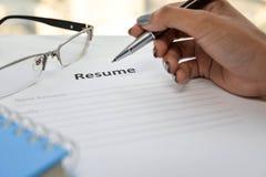 Writing Resume Royalty Free Stock Photography