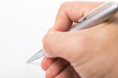 Writing with right hand for Education Stock Photo