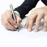 Writing with right hand Royalty Free Stock Photo