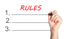 Writing Rules on white background Royalty Free Stock Image