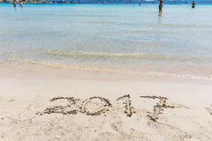 2017 writing on the sand, new year sign Royalty Free Stock Photography