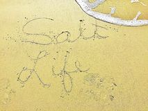 Writing in the sand  Salt Life Royalty Free Stock Image