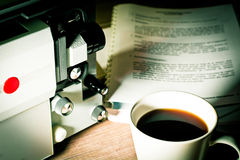 A Writing screenwriter super 8 time Royalty Free Stock Images