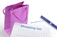 Writing shopping list Royalty Free Stock Images