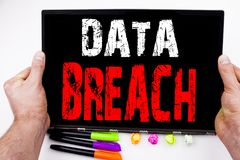 Writing showing Data Breach made in the office with surroundings laptop marker pen. Business concept for Tech Internet Network Bre Stock Photo