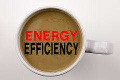 Writing showing Energy Efficiency made in the office with surroundings laptop marker pen. Business concept for Building Technology. Efficiency Workshop white stock photo