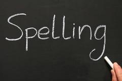 Writing spelling. Spelling, written on a blackboard Royalty Free Stock Photo