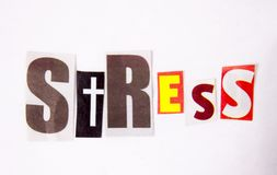 The writing Stress word made of magazine diffrent letters stock photography