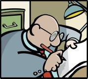 Writing. Stylised bald man with glasses writing stock illustration