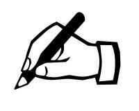 Writing symbol. Closeup of hand writing symbol Stock Photos