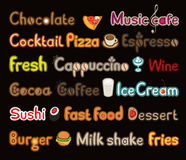 Writing and symbols on subject of food and drink. Writing and symbols on the subject of food and beverages on black background in a flat style Stock Photos