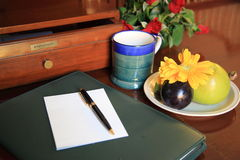 Writing table. Accesiors  on a writing table Stock Photos