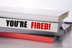 Writing tekst pokazuje Ciebie Podpala Biznesowy pojęcie dla bezrobotni lub rozładowanie pisać na książce na białym tle obrazy stock