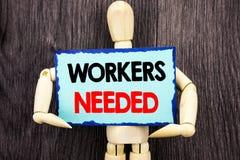 Writing tekst pokazuje pracowników Potrzebujących Pojęcia znaczenia rewizja Dla kariera zasobów pracowników bezrobocia problemu p Obraz Stock