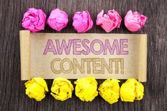 Writing text  Awesome Content. Concept meaning Creative Strategy Education Website Concept written on sticky note paper with folde. Writing text  Awesome Content Stock Image