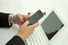 Writing text messages Stock Images