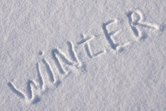 Writing Text On The Snow Stock Image
