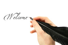 Writing text with quill stock photography