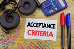 Writing text showing Acceptance Criteria. Business concept for Digital Criterion written on sticky note paper on the wooden backgr. Writing text showing Stock Image