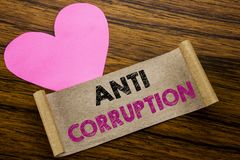 Writing text showing Anti Corruption. Business concept for Bribery Corrupt Text written on sticky note paper, wooden wood backgrou. Writing text showing Anti Royalty Free Stock Photography