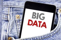 Writing text showing Big Data. Business concept for Digital Business Analysis written on cellphone phone smartphone in the men poc. Writing text showing Big Data Royalty Free Stock Photos