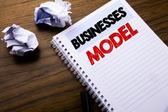 Writing text showing Businesses Model. Business concept for Project For Business written on notebook notepad note paper on the woo. Writing text showing stock photo