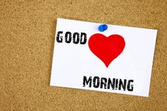 A writing text showing concept of Good Love Morning made on sticky note handwritten letters words for Loving concept white cork ba. Ckground with space royalty free stock photography