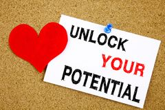 A writing text showing concept of Unlock Your Potential made on sticky note handwritten letters words for Self-Development Improve. Ment concept white cork Stock Photos