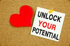 A writing text showing concept of Unlock Your Potential made on sticky note handwritten letters words for Self-Development Improve. Ment concept white cork Royalty Free Stock Photography