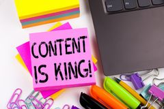 Writing text showing Content Is King made in the office with surroundings such as laptop, marker, pen. Business concept for Busine. Ss Marketing Online Media Stock Photo