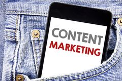 Writing text showing Content Marketing. Business concept for Online Media Plan written on cellphone phone smartphone in the men po. Writing text showing Content Royalty Free Stock Images