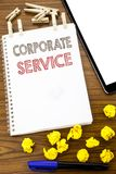 Writing text showing Corporate Service. Business concept for Csr Digital Content written on note paper with folded Meaning Thinkin. Writing text showing Royalty Free Stock Photo